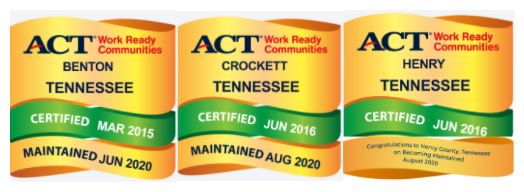 Benton, Crockett, and Henry Counties Achieve Maintaining Status as ACT® Work Ready Communities