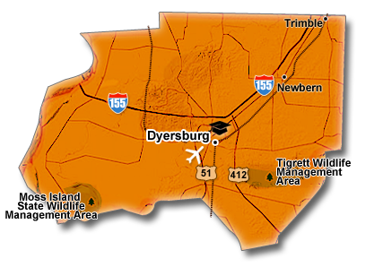 Dyer County, TN Map